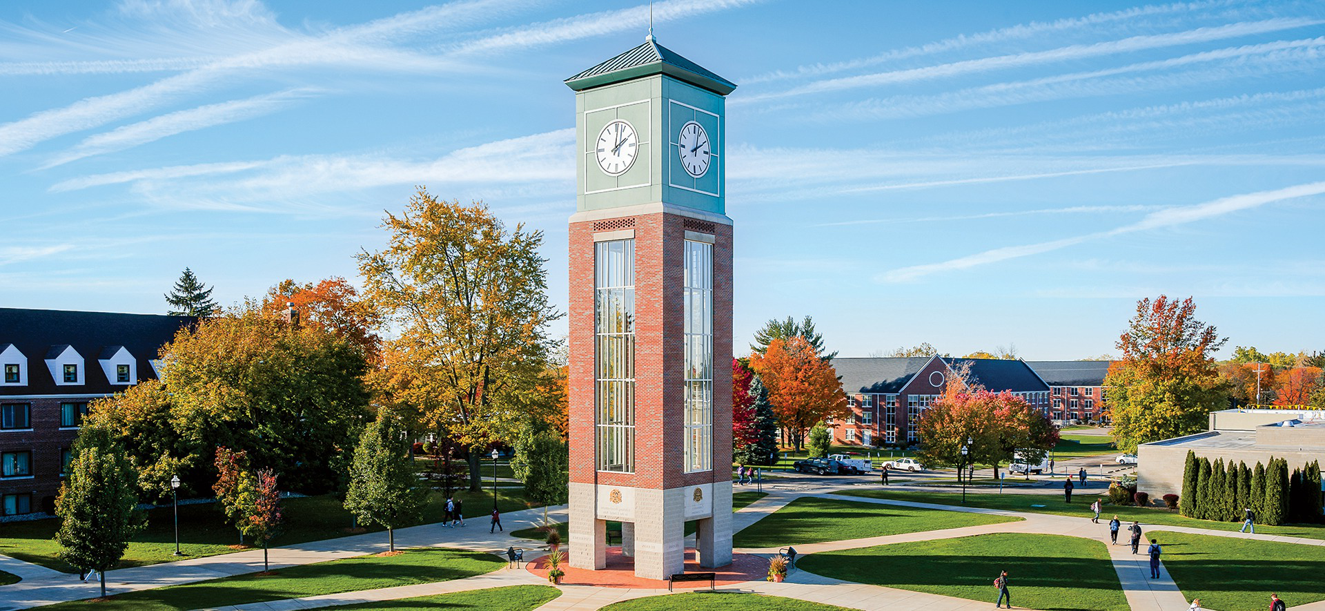 Aerial photo of campus plaza with clocktower